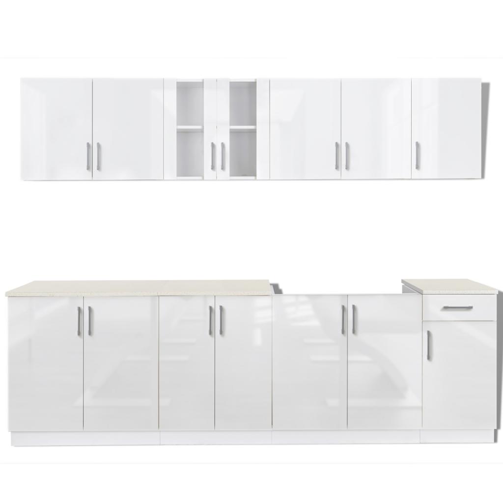 Ensemble de 8 meubles de cuisine blanc brillant for Ensemble de meuble de cuisine