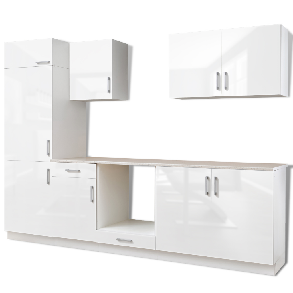 ensemble de sept meubles de cuisine blanc brillant. Black Bedroom Furniture Sets. Home Design Ideas