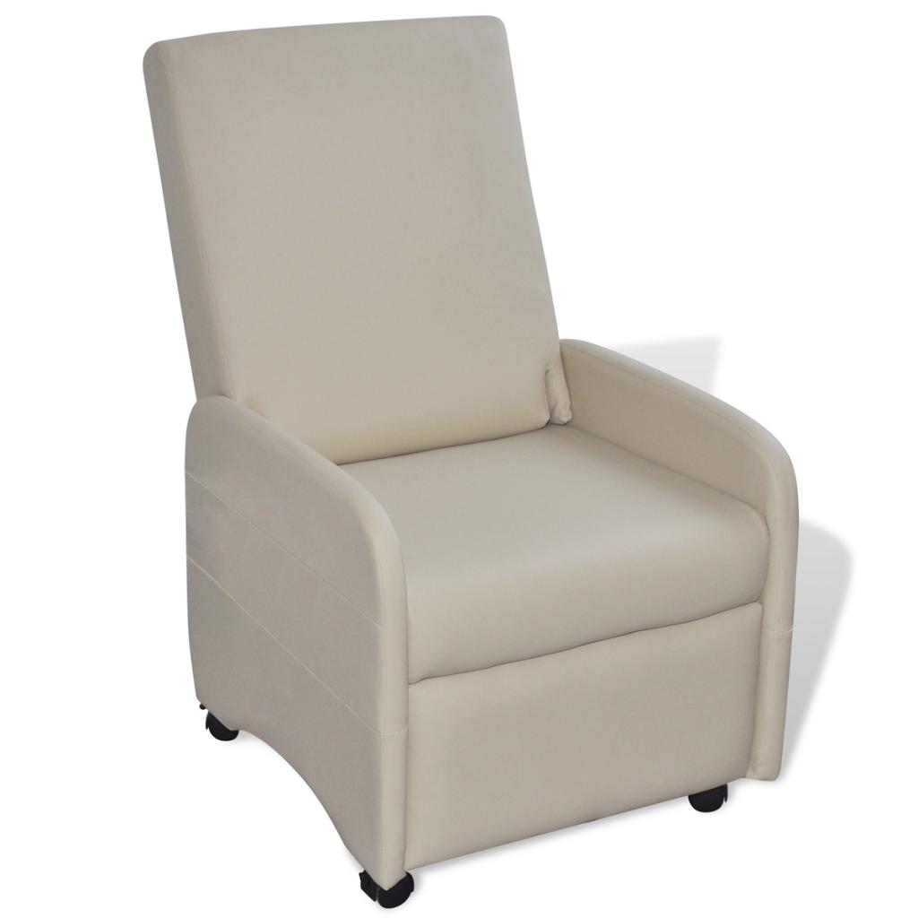 fauteuil inclinable et pliable en cuir artificiel cr me interougehome. Black Bedroom Furniture Sets. Home Design Ideas