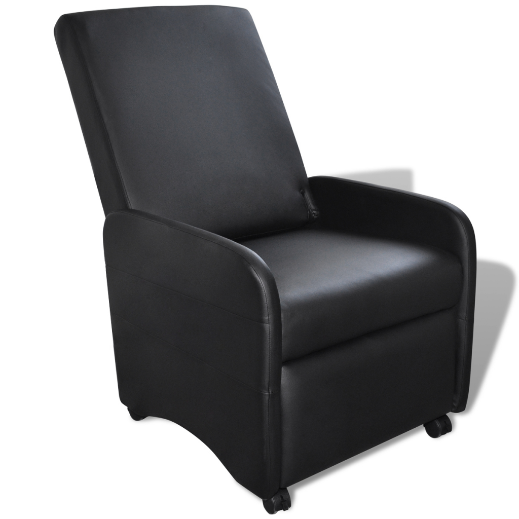 fauteuil inclinable et pliable en cuir artificiel noir interougehome. Black Bedroom Furniture Sets. Home Design Ideas