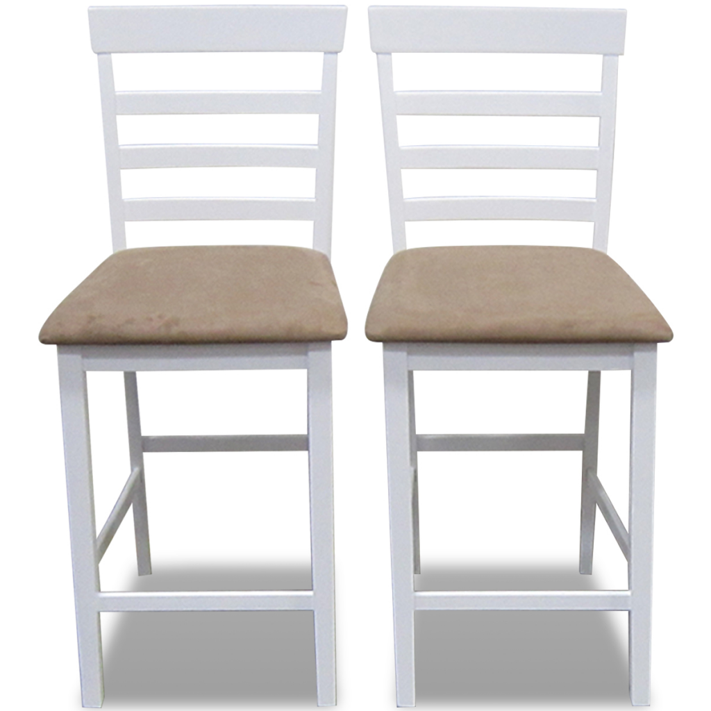 set de 2 chaises de bar en bois blanc beige. Black Bedroom Furniture Sets. Home Design Ideas