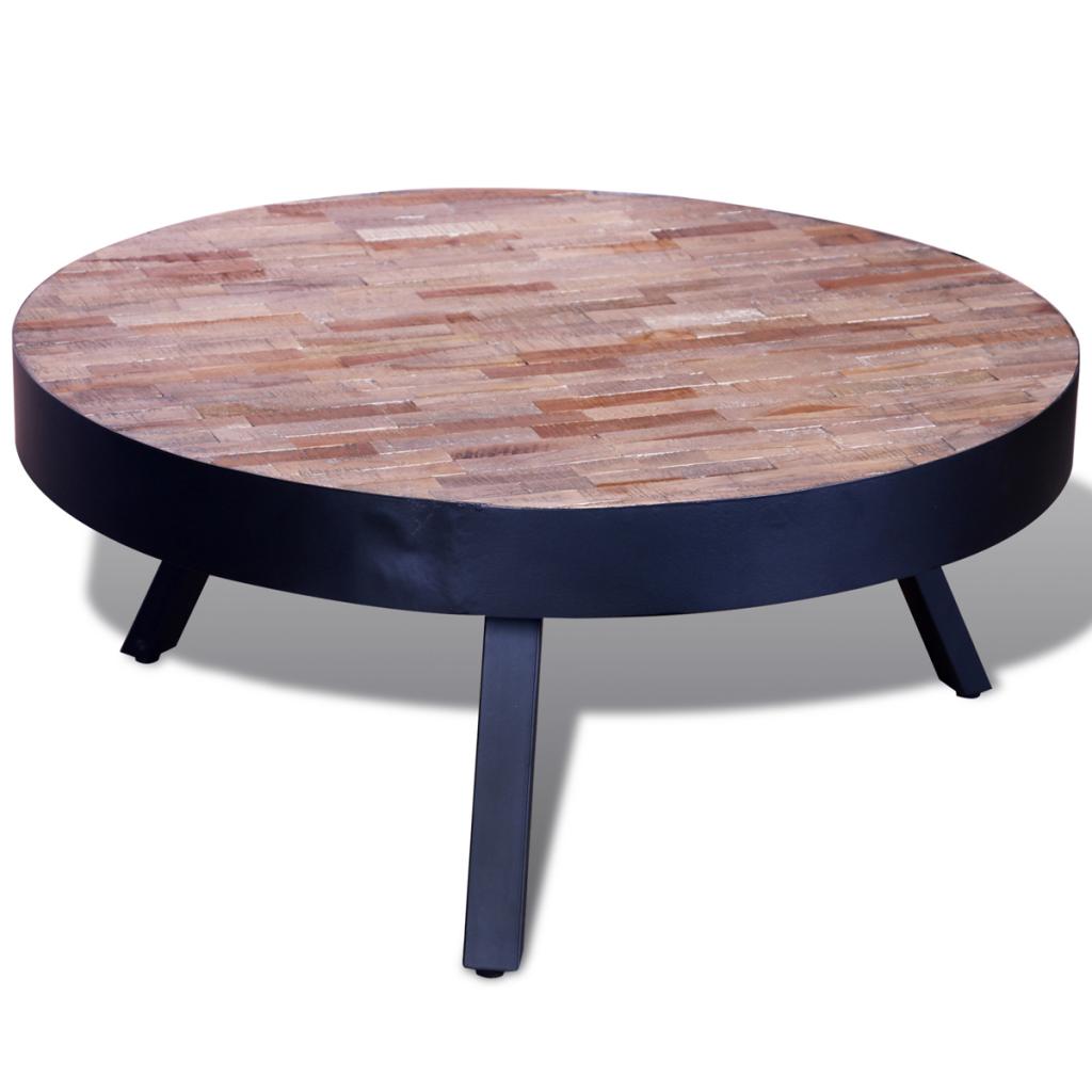 Table basse ronde en teck recycl for Table basse en teck