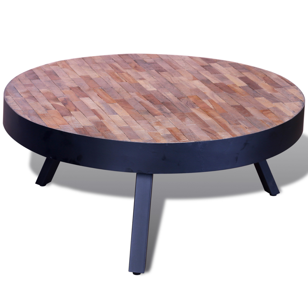 table basse ronde en teck recycl. Black Bedroom Furniture Sets. Home Design Ideas