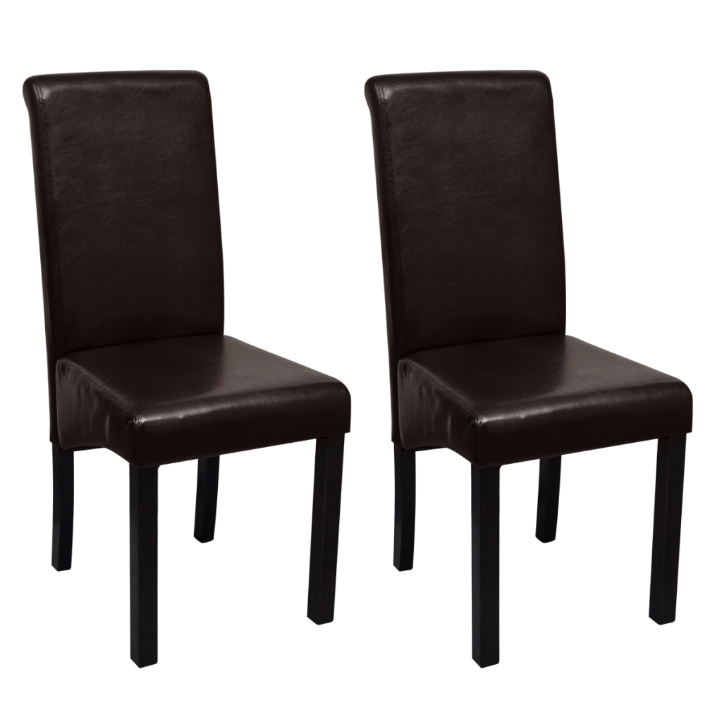 Set de 2 chaises de salle manger marron en cuir artificiel for Chaise salle a manger cuir marron