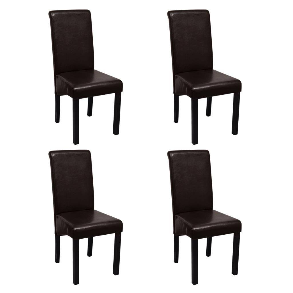 Set de 4 chaises de salle manger marron en cuir artificiel for Chaises cuir marron salle manger