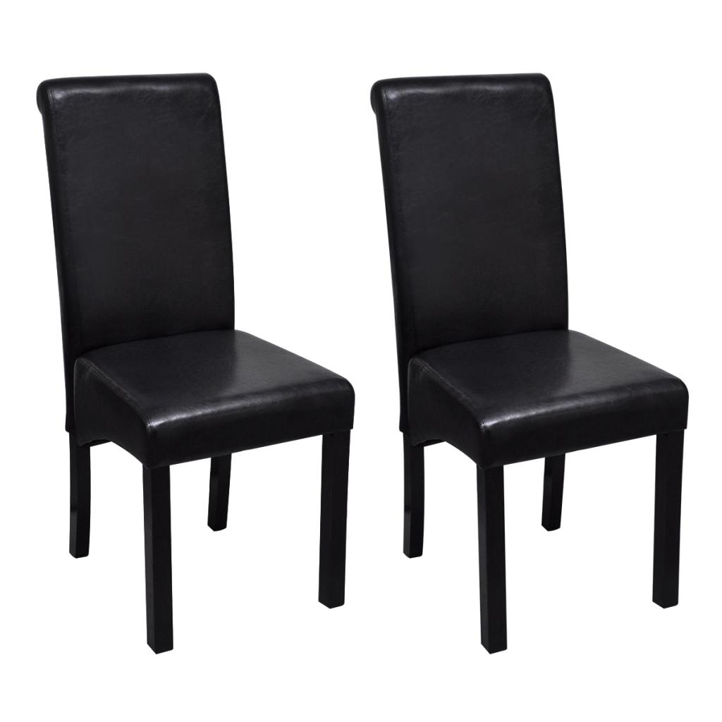 Set de 2 chaises de salle manger noires en cuir artificiel for Chaises noires salle a manger