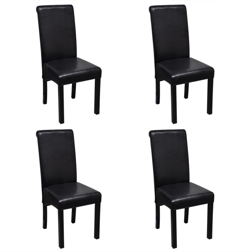 Set de 4 chaises de salle manger noires en cuir artificiel for Chaises noires salle a manger