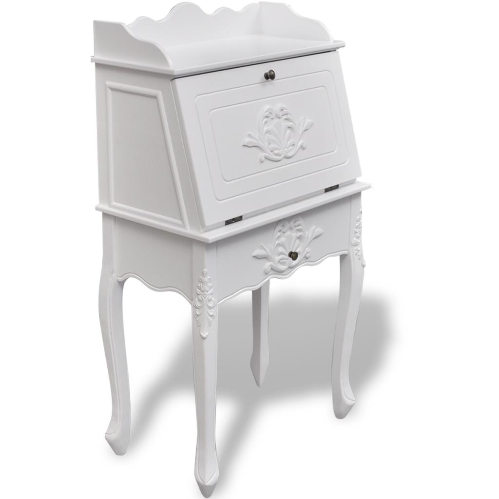 bureau secr taire fran ais en bois blanc. Black Bedroom Furniture Sets. Home Design Ideas