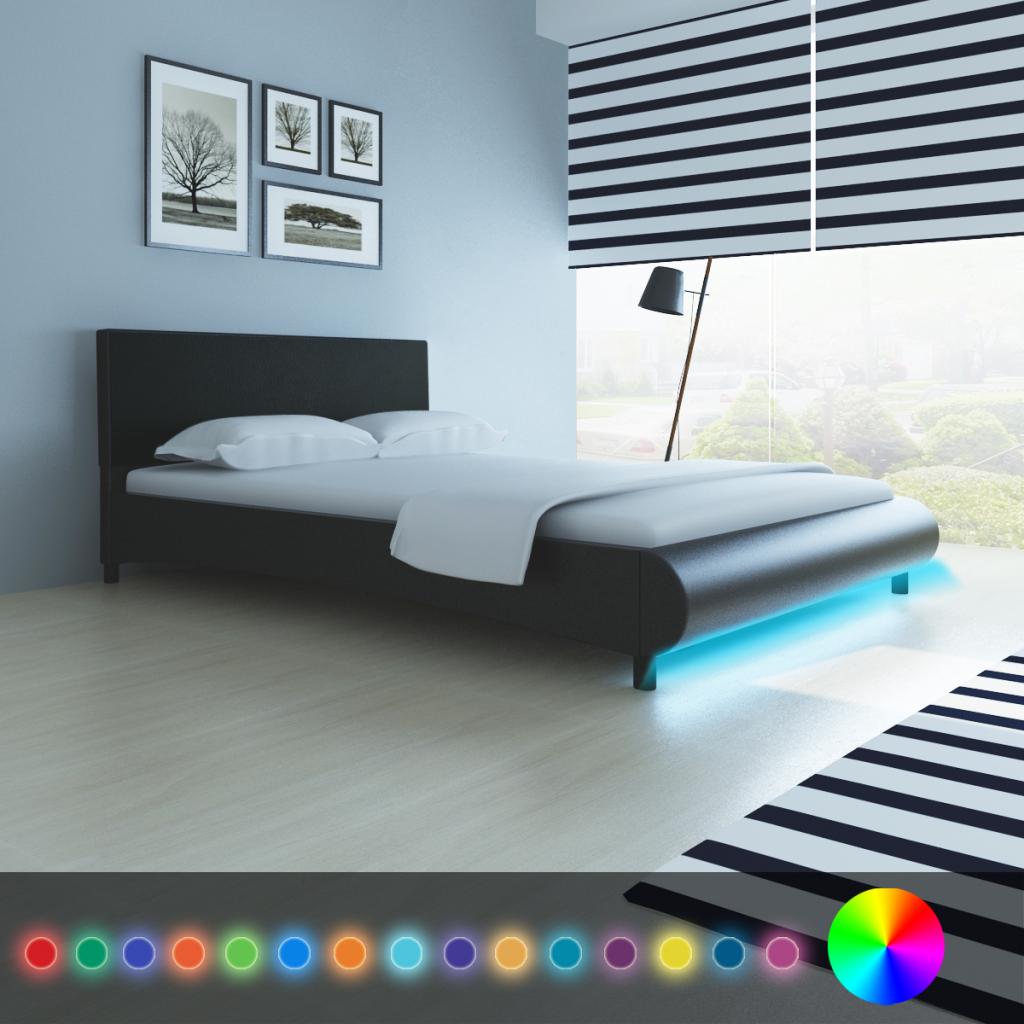lit noir avec bande led 140 x 200 cm. Black Bedroom Furniture Sets. Home Design Ideas