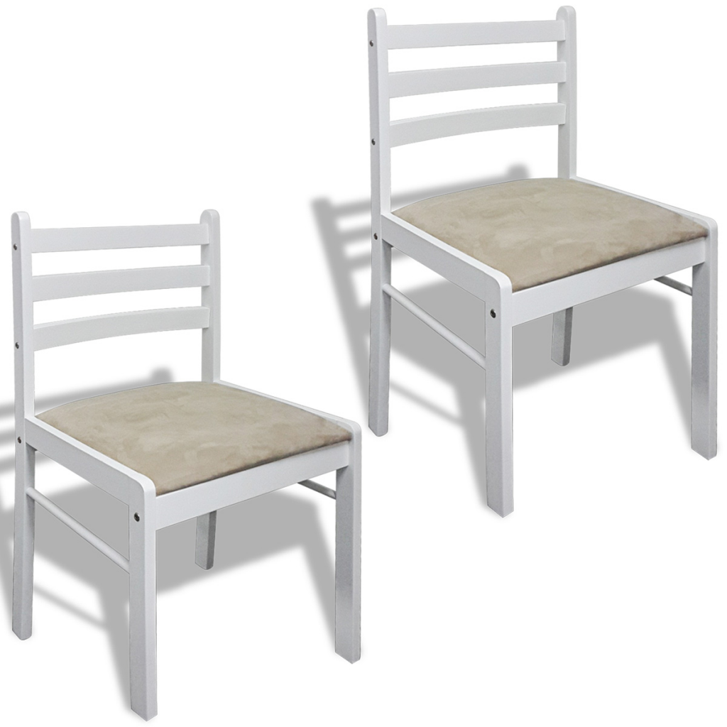 lot de 2 chaises blanches en bois interougehome. Black Bedroom Furniture Sets. Home Design Ideas