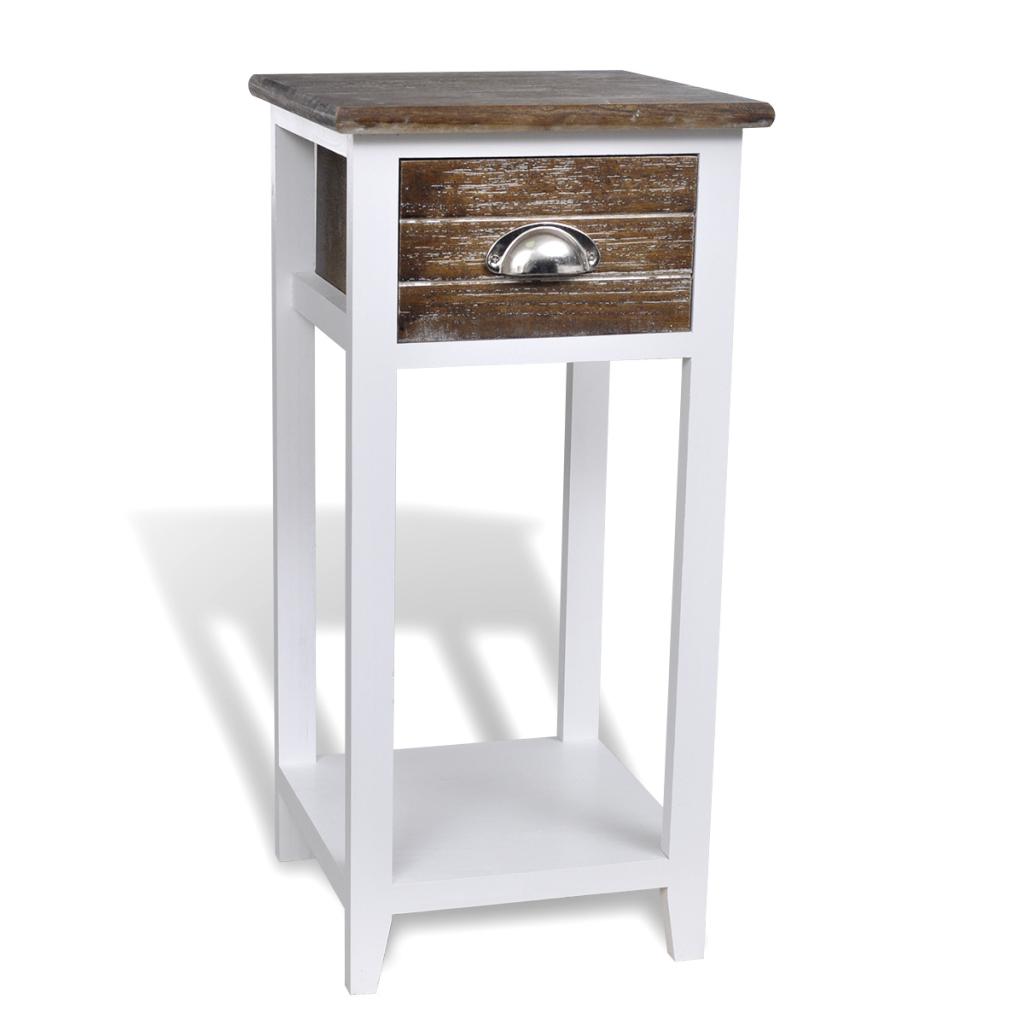 table de chevet avec tiroir marron et blanc. Black Bedroom Furniture Sets. Home Design Ideas