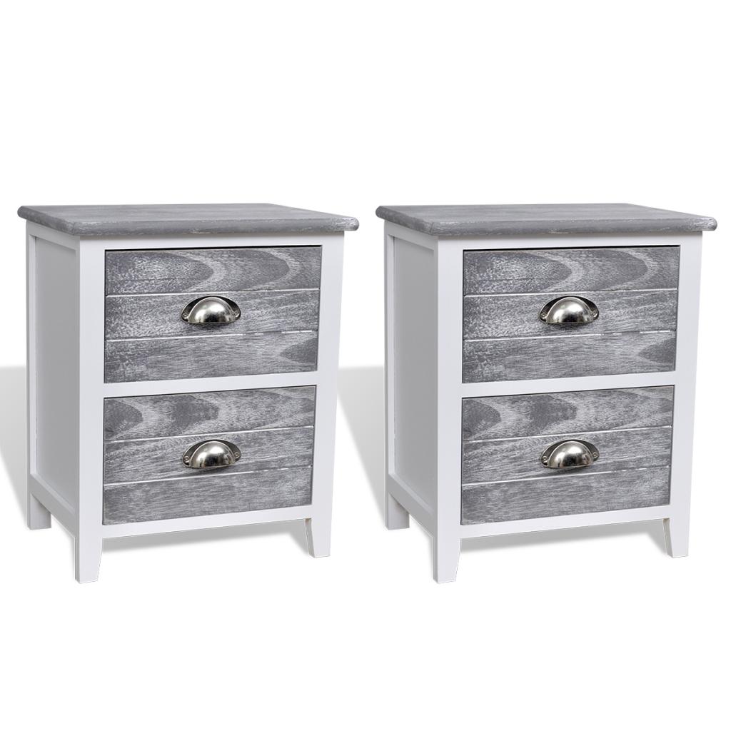 ensemble de tables de chevet blanc et gris. Black Bedroom Furniture Sets. Home Design Ideas