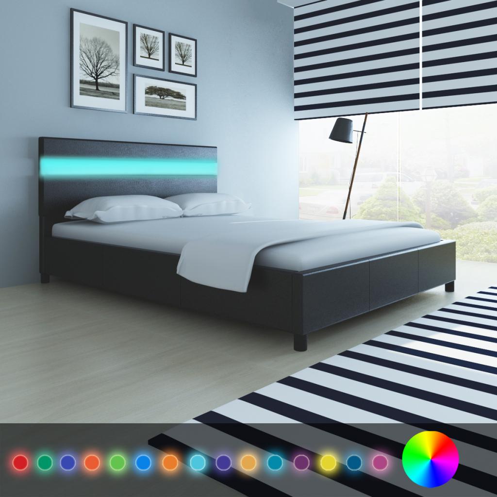 lit 200 x 140 cm noir avec t te de lit led. Black Bedroom Furniture Sets. Home Design Ideas