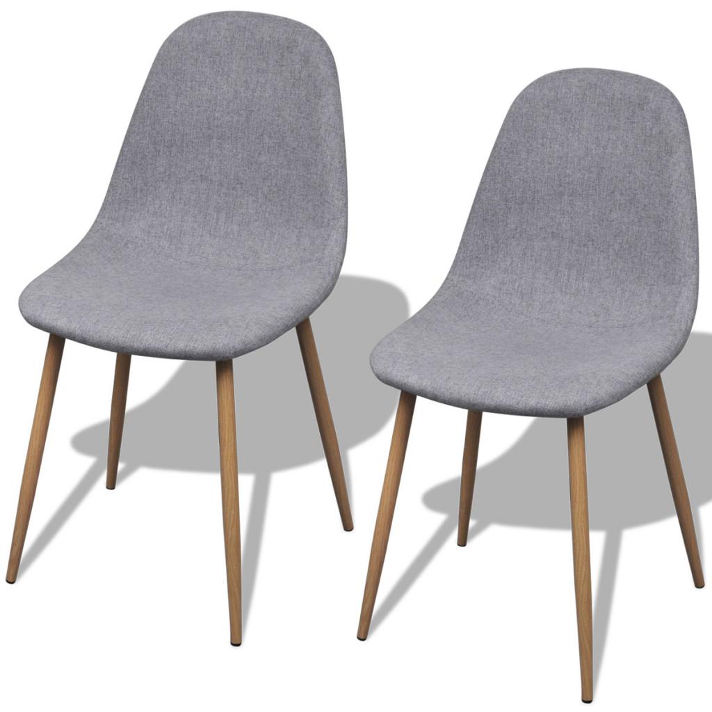 Lot de 2 chaises en tissu et pieds en fer pour salle à manger Gris Clair ada95fb0b8c2