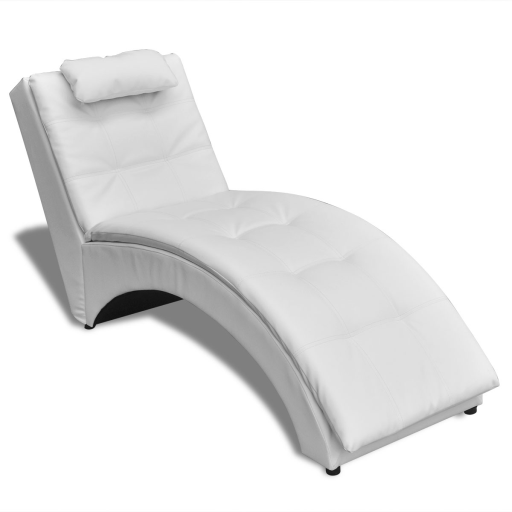 chaise longue en cuir artificiel blanc interougehome. Black Bedroom Furniture Sets. Home Design Ideas