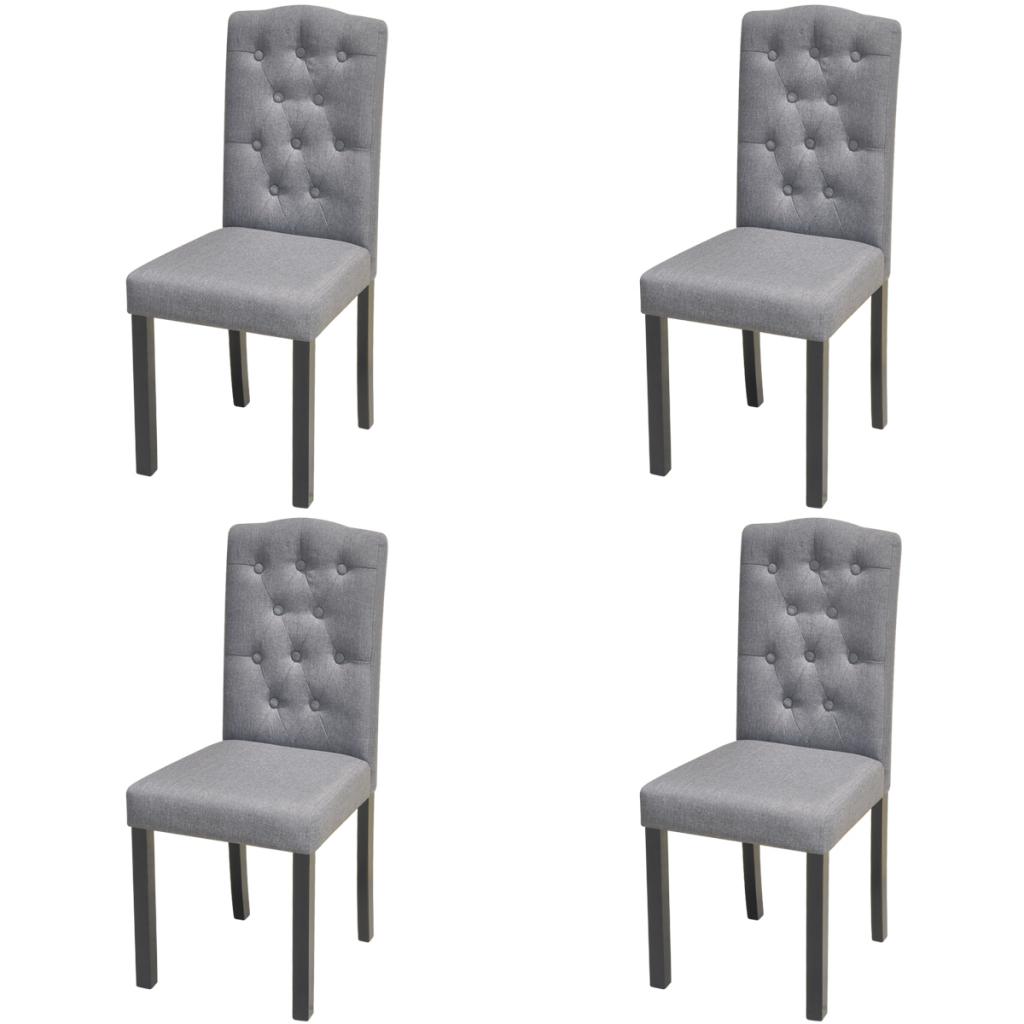 4 Chaises en tissu d\'ameublement pour salle à manger Gris Foncé