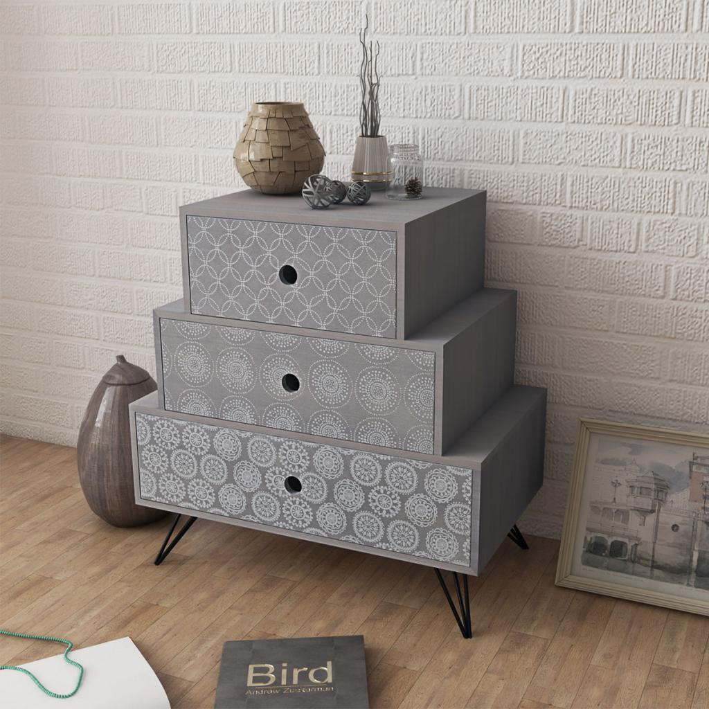table de chevet grise avec 3 tiroirs. Black Bedroom Furniture Sets. Home Design Ideas