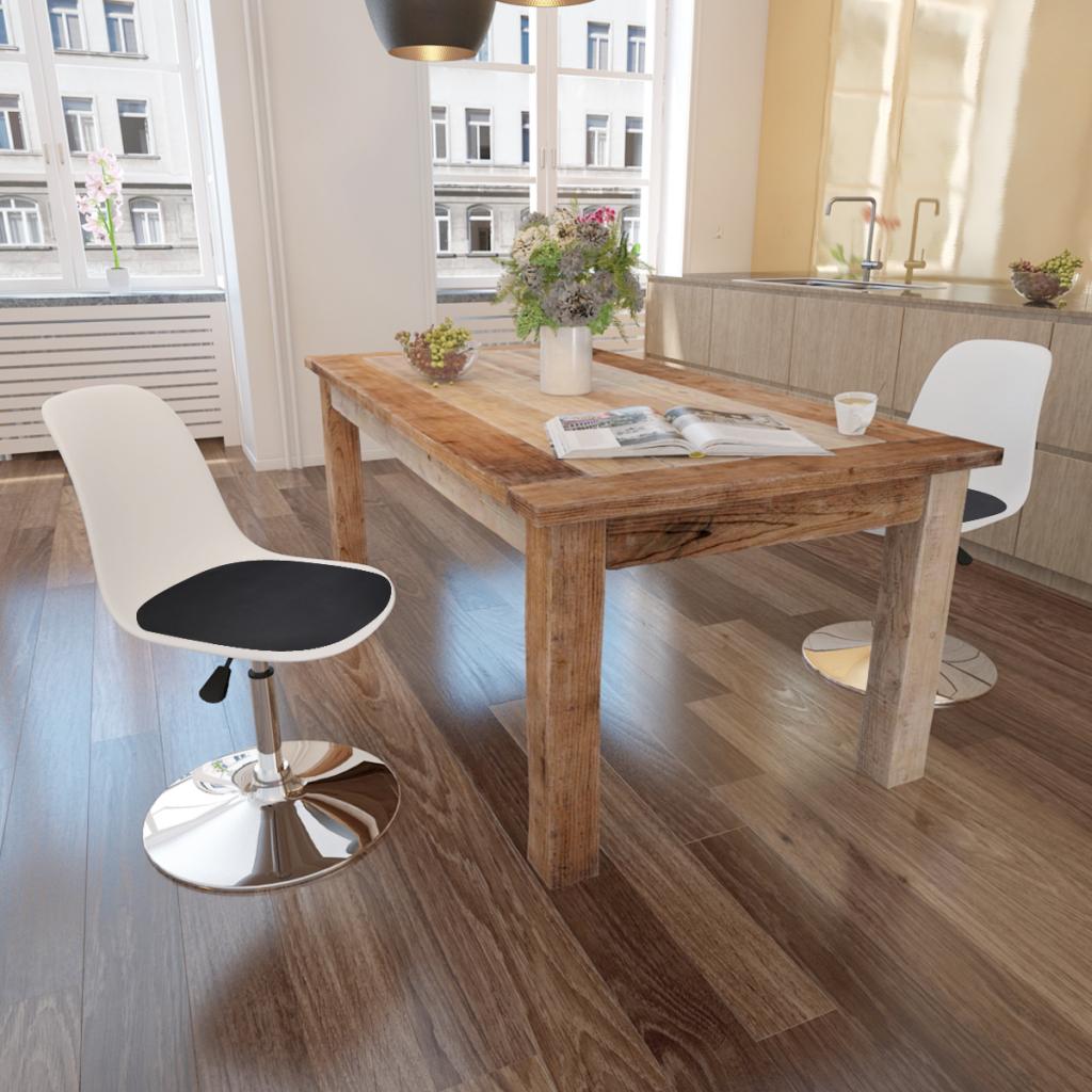 lot de 2 chaises pivotantes et r glables noir et blanc. Black Bedroom Furniture Sets. Home Design Ideas