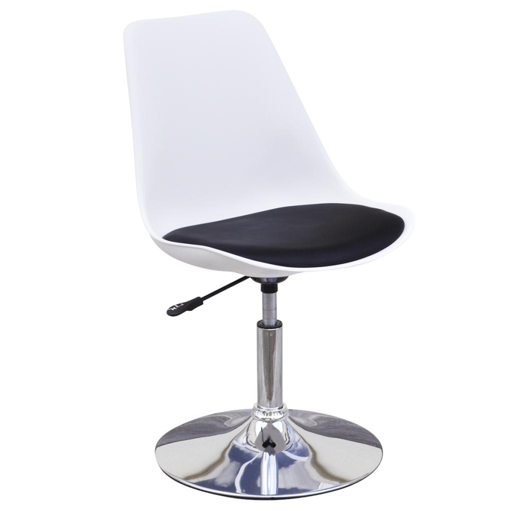 Lot de 2 chaises pivotantes et r glables noir et blanc for Table et chaise noir et blanc