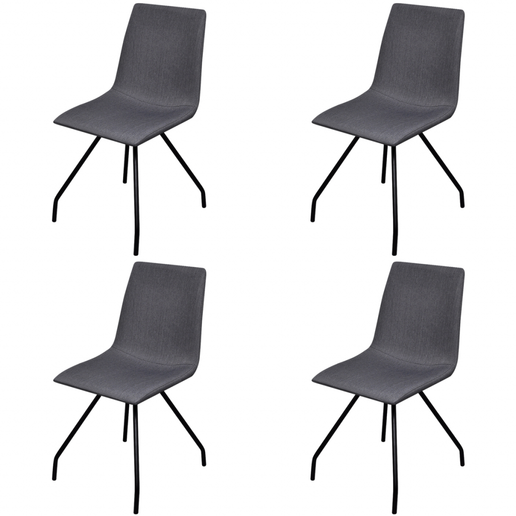 4 chaises en tissu et pieds en fer pour salle manger for Chaises tissu salle manger