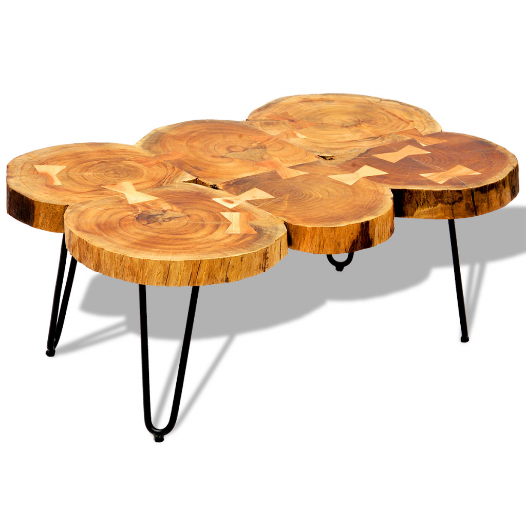 table basse table d 39 appoint en bois massif sheesham 35 cm 6 troncs. Black Bedroom Furniture Sets. Home Design Ideas