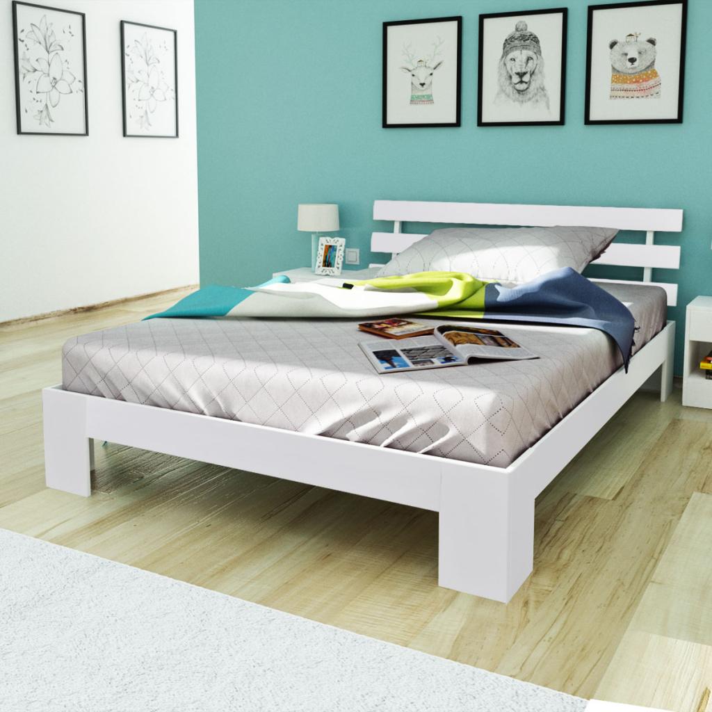 lit en pin massif 200 x 140 cm blanc. Black Bedroom Furniture Sets. Home Design Ideas