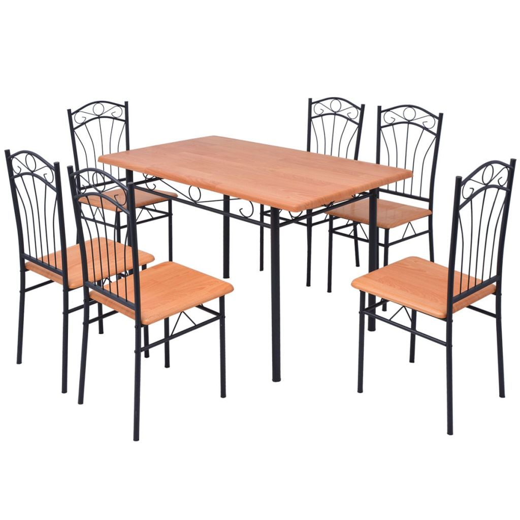 Ensemble De Table Et Chaises 6 Personnes Marron