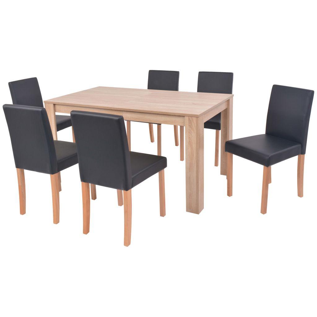 Ensemble De Table Et Chaises 6 Personnes En Cuir Synthetique Chene Noir