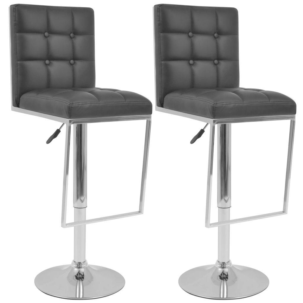 tabourets de bar pivotant en simili cuir noir lot de 2. Black Bedroom Furniture Sets. Home Design Ideas