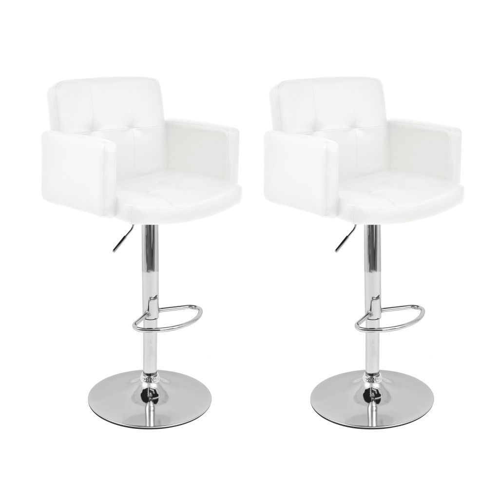 tabouret pivotant de bar 2 pcs cuir artificiel blanc. Black Bedroom Furniture Sets. Home Design Ideas