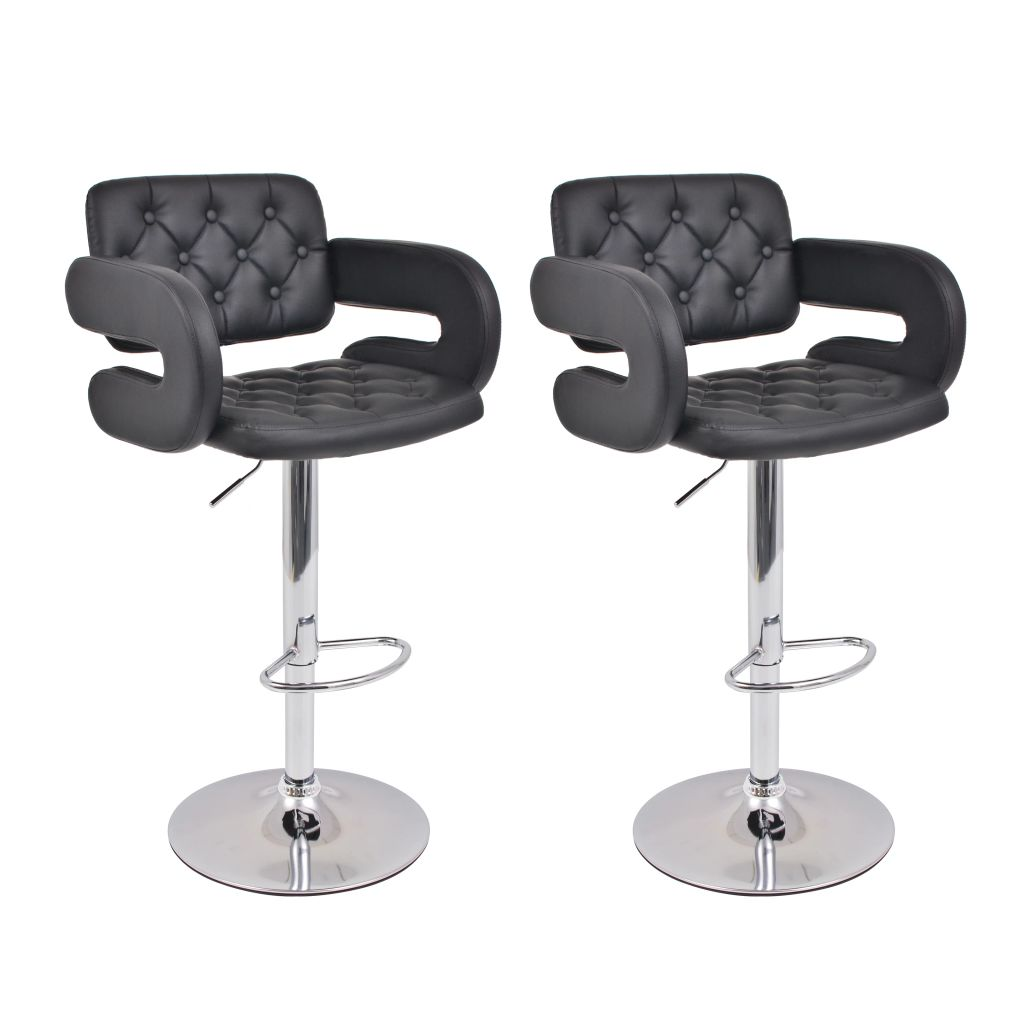 tabouret pivotant de bar 2 pcs cuir artificiel noir. Black Bedroom Furniture Sets. Home Design Ideas