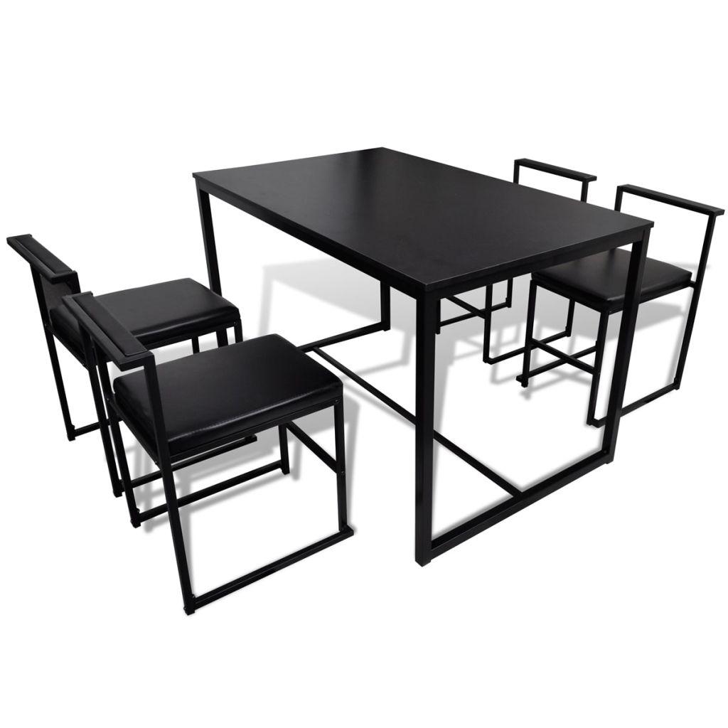 ensemble de table et chaises de salle manger 4 personnes noir