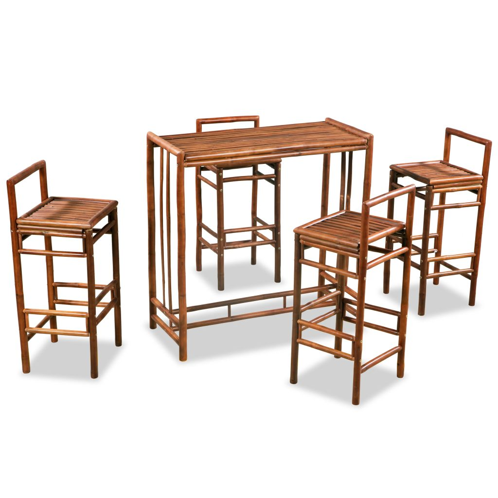 Ensemble De Table Et Chaises Bambou Marron