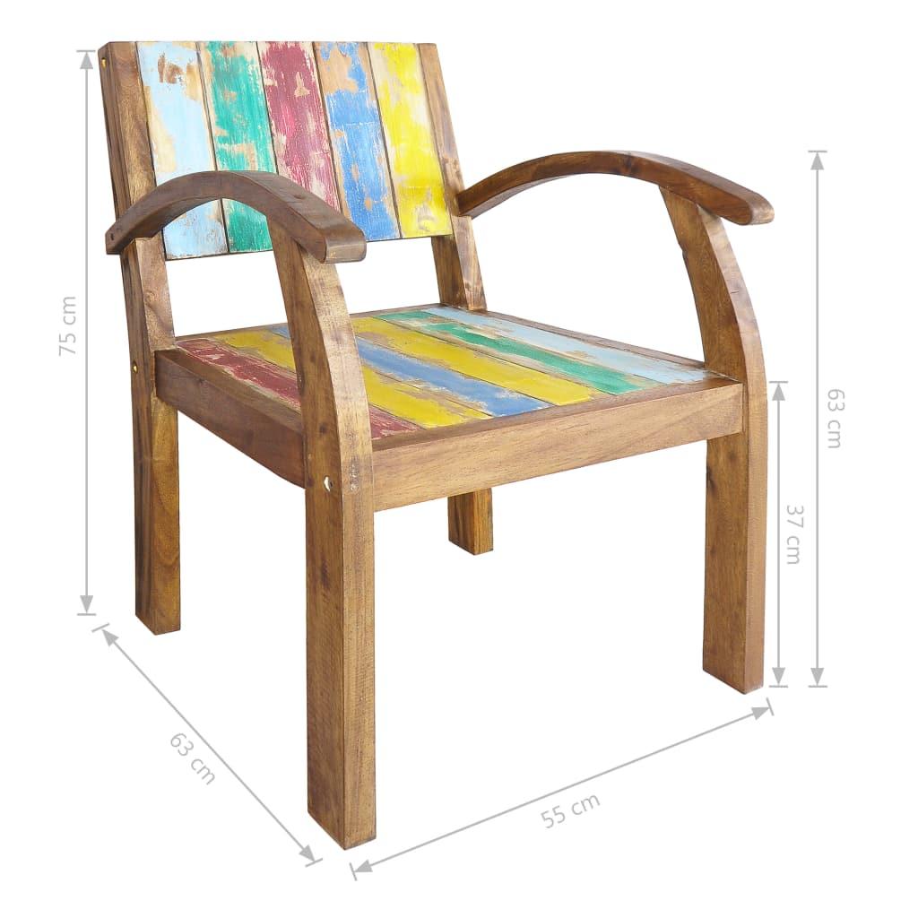 Chaise Avec Accoudoir Bois De Bateau Massif Recupere