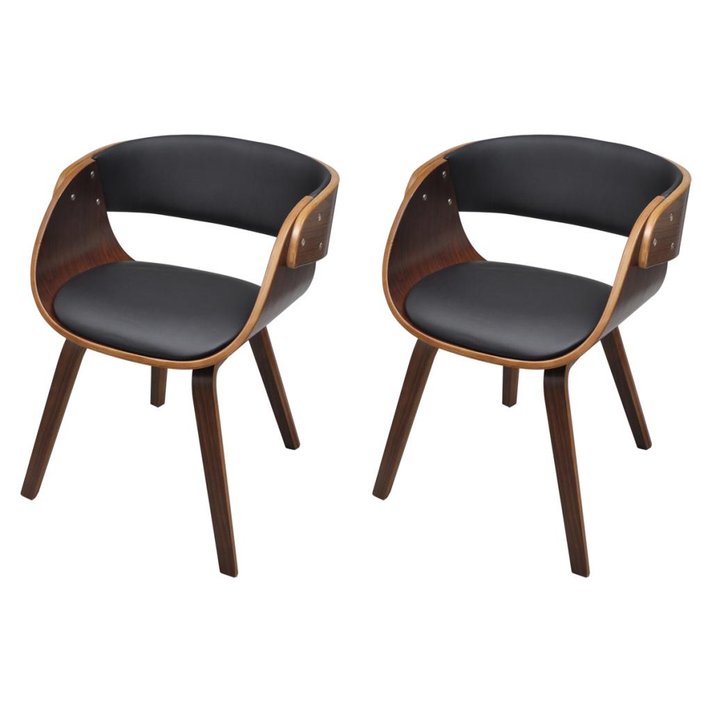 Lot de 2 fauteuils confortables salle manger brun for Fauteuil de table a manger