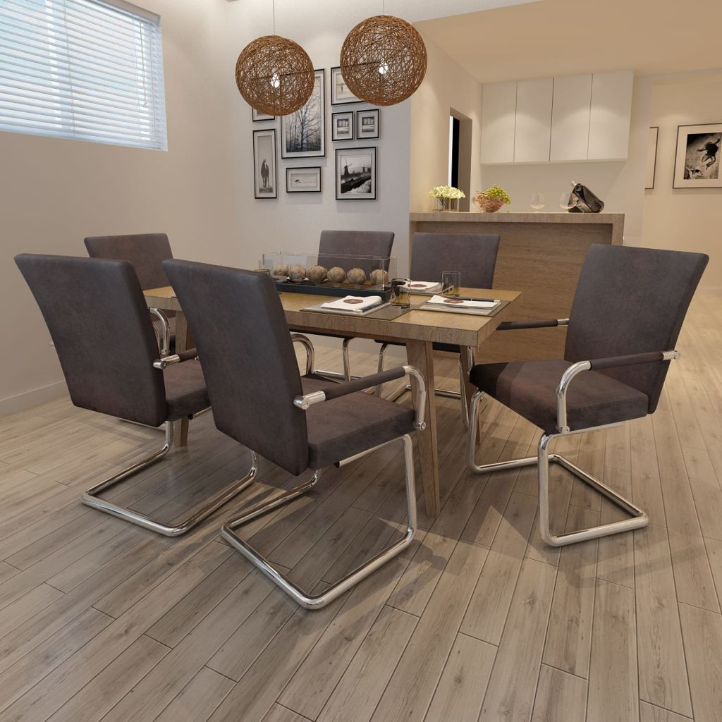 lot de 6 fauteuils de salle manger marron. Black Bedroom Furniture Sets. Home Design Ideas