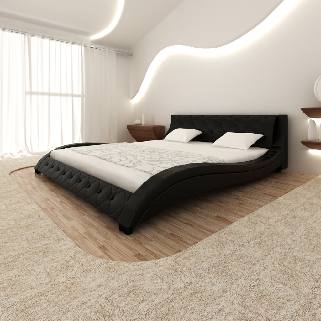 lit vague avec matelas m moire de forme noir. Black Bedroom Furniture Sets. Home Design Ideas