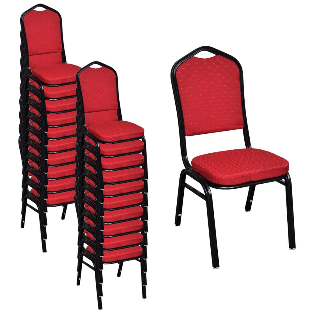 Lot de 20 chaises empilables rembourr es rouge interougehome for Chaises empilables