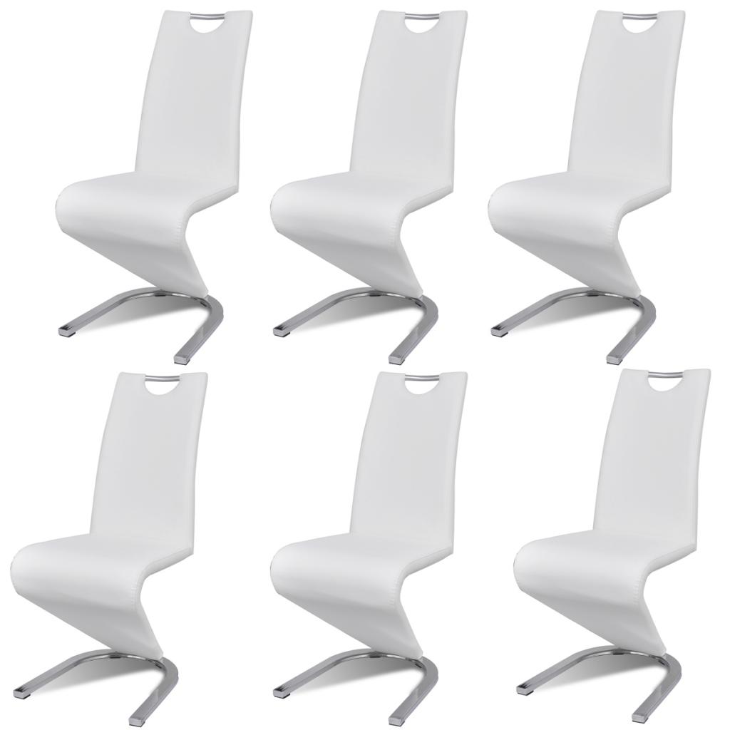 Lot 6 Chaises Contemporaines En Simili Cuir Blanc