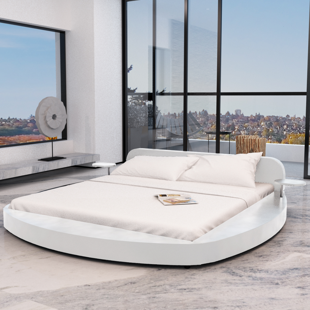 lit rond blanc avec tablettes et matelas. Black Bedroom Furniture Sets. Home Design Ideas
