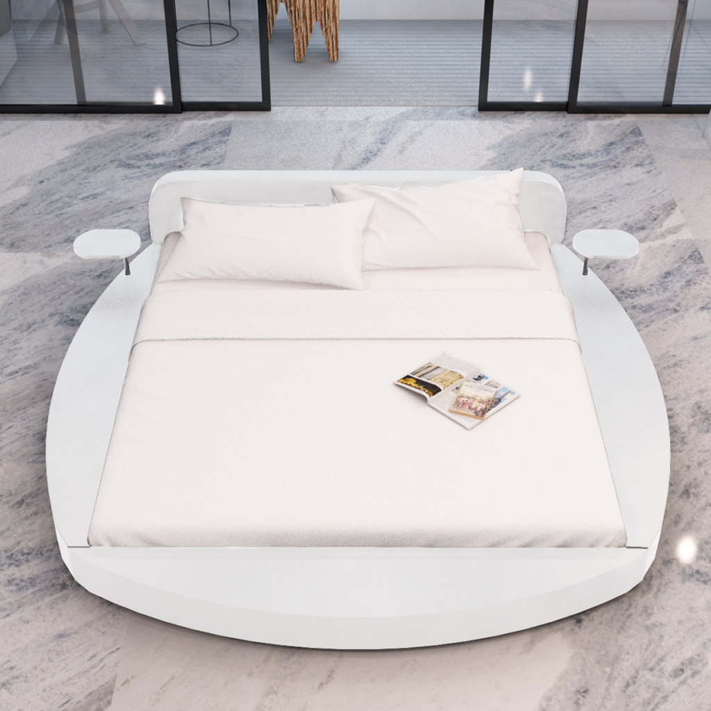 lit rond blanc avec tablettes et matelas. Black Bedroom Furniture Sets. Home Design Ideas