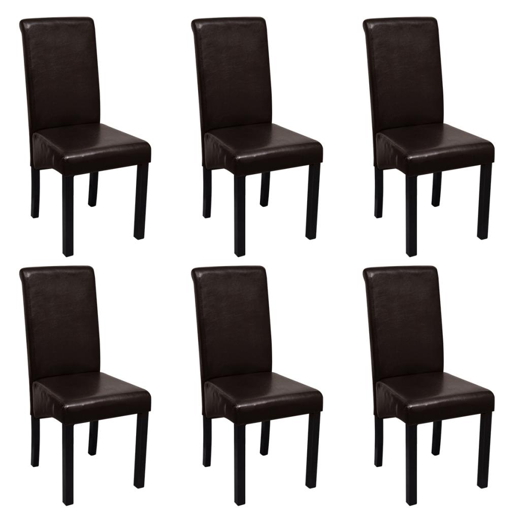 Lot de 6 chaises de salle manger marron en cuir for Chaises cuir marron salle manger