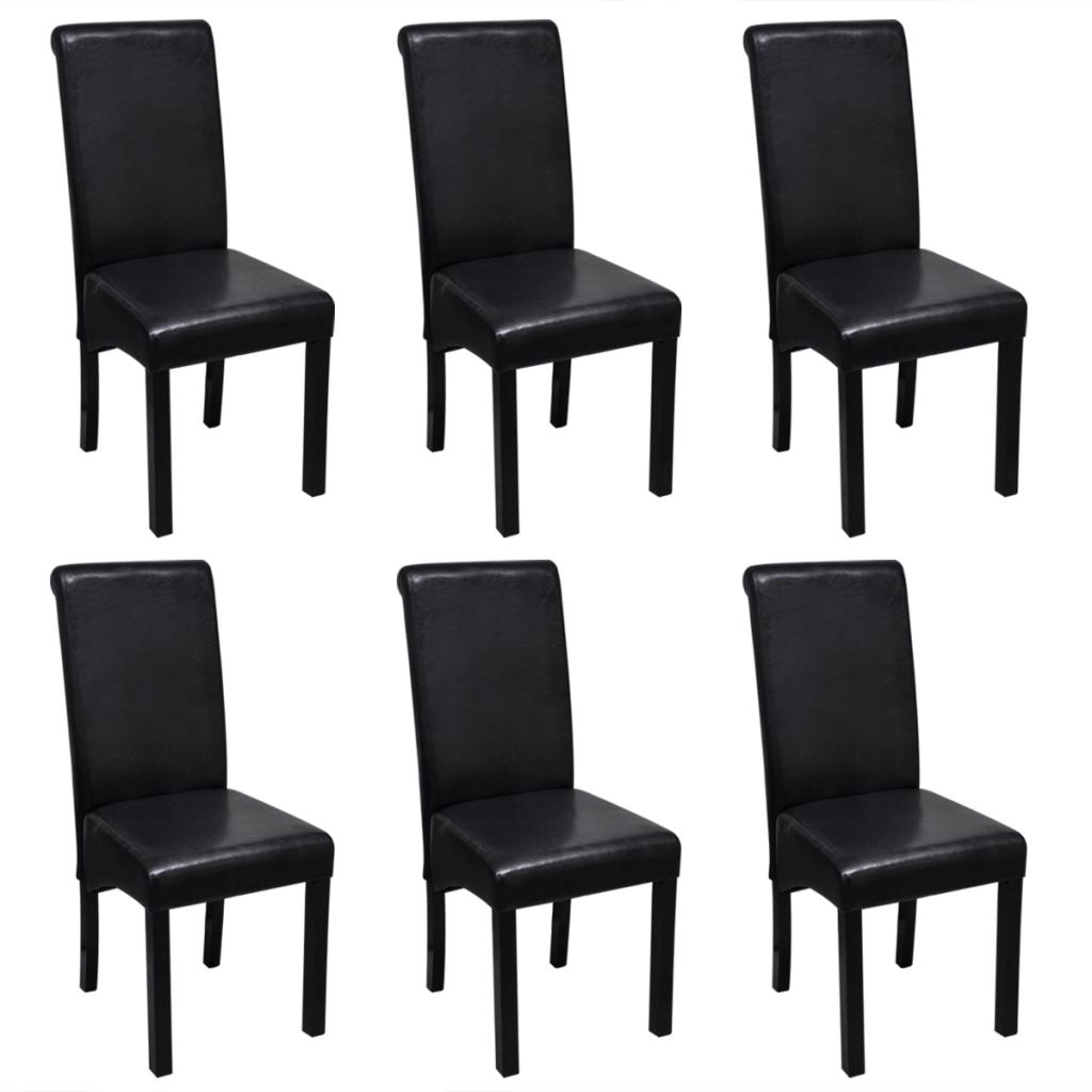 Lot de 6 chaises de salle manger en cuir noir for Salle a manger 6 chaises