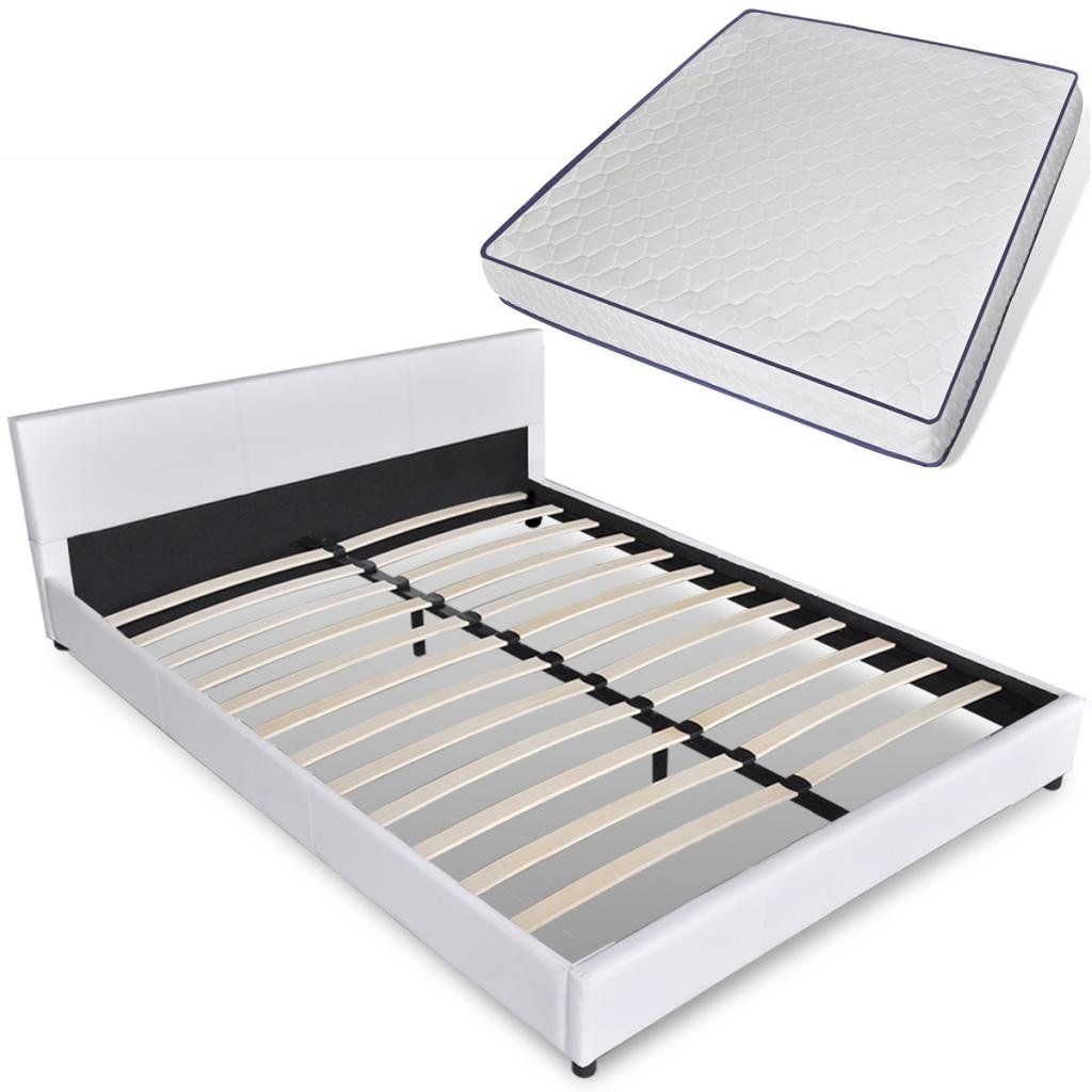 lit blanc avec matelas m moire de forme 180cm. Black Bedroom Furniture Sets. Home Design Ideas