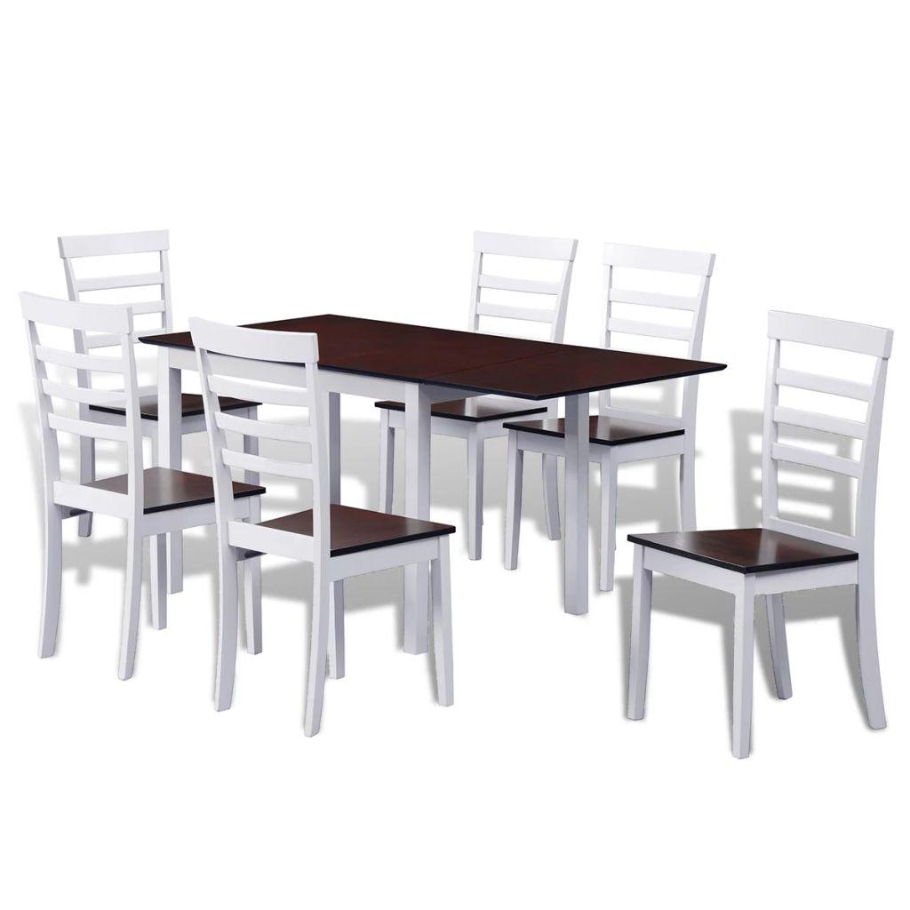 Ensemble De Table Et Chaises 6 Personnes Marron Blanc En Bois Massif