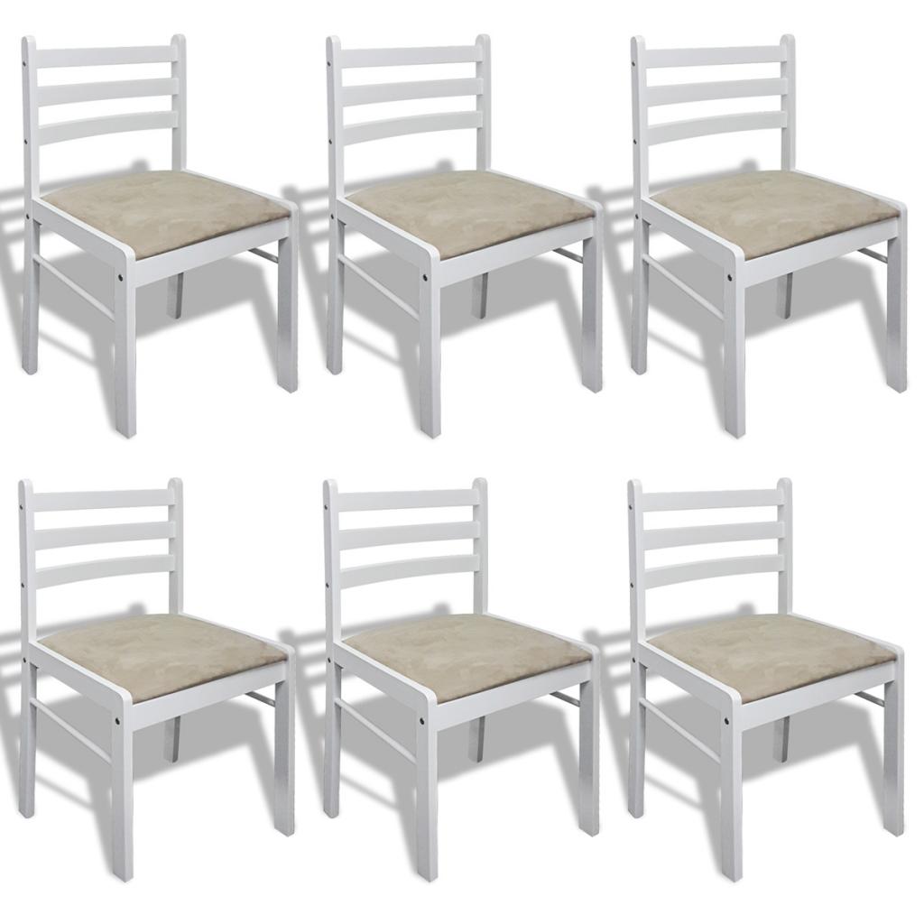 Ensemble de 6 chaises de salle manger en bois blanc for Ensemble salle a manger en bois