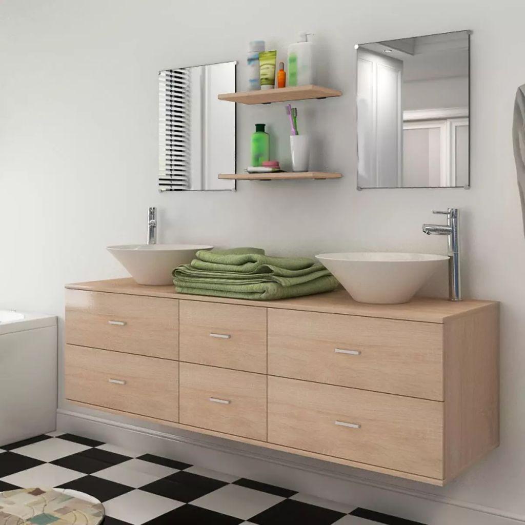 vasque beige salle de bain Meuble salle de bain double vasque à poser - Beige
