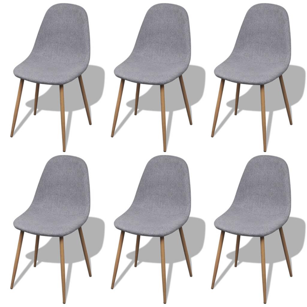 6 chaises en tissu et pieds en fer pour salle manger gris clair. Black Bedroom Furniture Sets. Home Design Ideas