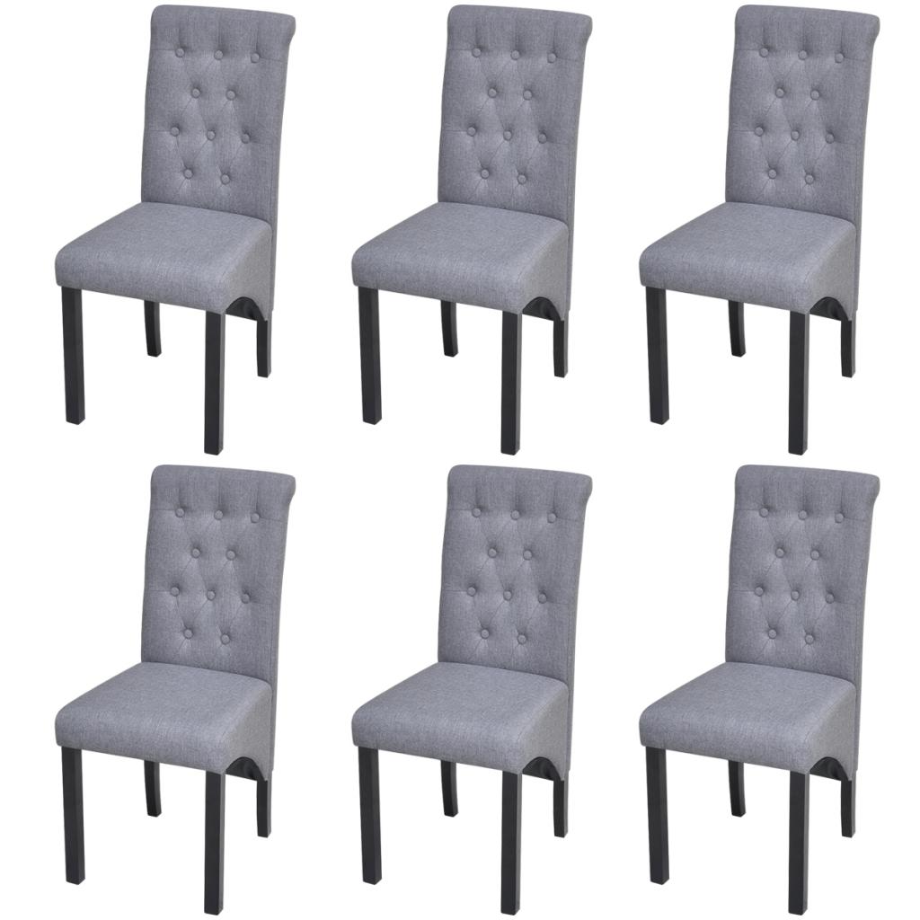 6 Chaises en tissu d\'ameublement pour salle à manger Gris Foncé