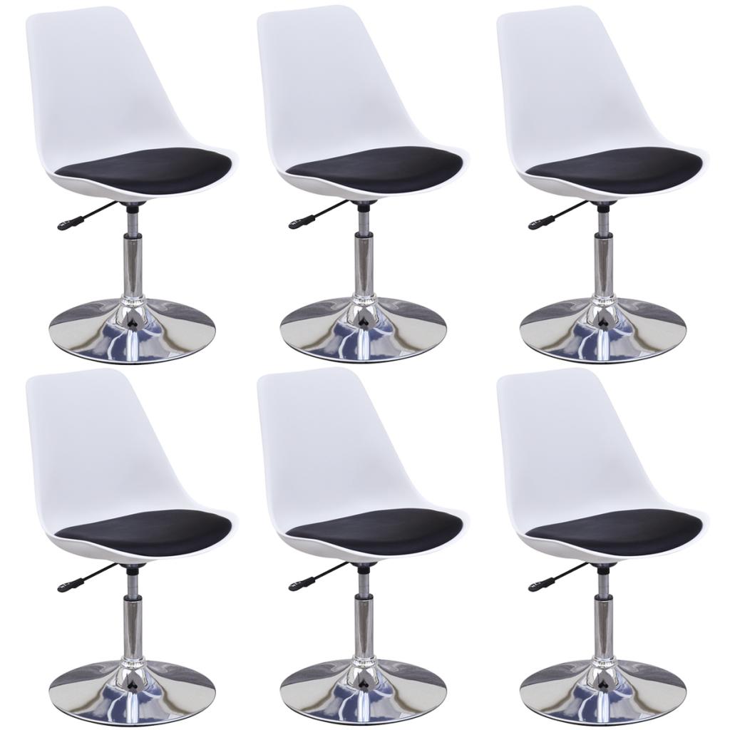 Lot de 6 chaises pivotantes réglables en hauteur avec dossier Blanc ...